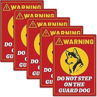 CREATCABIN 5 件警告不要踩在护卫队标志乙烯基警告贴纸自粘贴花贴纸防紫外线防水适用于门花园庭院露台门廊墙窗门廊 7 x 10 英寸