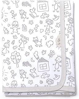 Ti TIN – 柔软吸水婴儿毯,80 x 75 厘米   * 纯棉婴儿毯,双层织物,婴儿车,婴儿车,婴儿提篮等,儿童主题,灰色