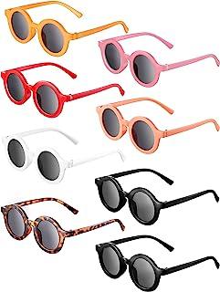 8 对儿童太阳镜圆形复古太阳镜幼儿婴儿太阳镜,年龄 3-10 岁