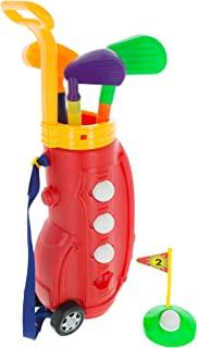 Hey! Play!幼儿玩具高尔夫玩具套装,带塑料袋,2 个球杆,1 个推杆,4 个球,推杆杯室内或室外,适合幼儿男孩和女孩使用