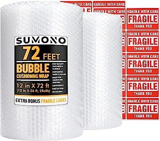 泡泡缓冲包装卷,Sumono 12 英寸 x 72 英尺共 [2 卷 36 英尺] 气泡卷穿孔 12 英寸包括 20 个易碎贴纸标签