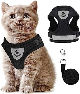 猫胸背带和牵引绳 适用于行走 防逃脱 不拉扯 小型犬背心 可调节易控制 小猫胸背带和牵引绳 反光透气猫牵引绳和胸背带套装(黑色,XS)
