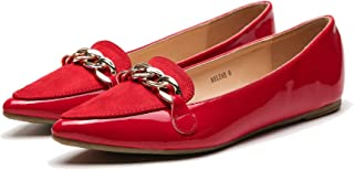 Mila Lady Arlene 时尚漆皮 PU 尖头舒适一脚蹬芭蕾礼服平底鞋 女式