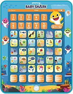 LEXIBOOK JCPAD002BSi1 Baby Shark *双语互动平板电脑,学习字母、数字、单词拼写和音乐,英语/法语语言,蓝色/橙色
