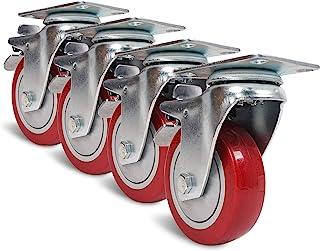 Sound Town 4 件装 4 英寸(约 10.2 厘米)旋转脚轮,带红色聚氨酯和制动脚轮,替换脚轮,适用于机架、家用家具、工业拖车和运输车