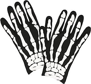 Widmann 34275 儿童骷髅手套,黑-白,骨头,配饰,服装,主题派对,狂欢节,万圣节