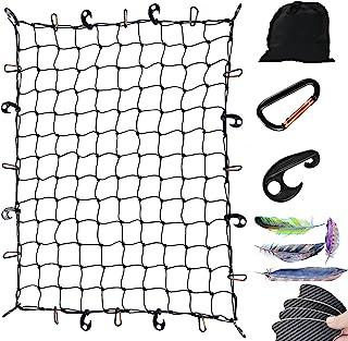 卡车床货物网 4'x6' 可拉伸至 8'x12',适用于皮卡车床拖车行李网重型系带网,带 12 个挂钩和金属登山扣夹,弹力货物网(免费汽车贴纸)