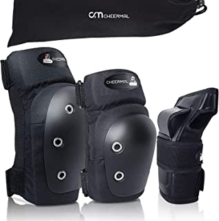 Cheermal 儿童/成人护膝护膝和肘部护具,6 合 1 防护装备套装,适用于滑板、滑轮滑、骑自行车、BMX 自行车、滑雪、滑板车和其他骑行运动。