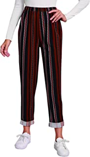 WDIRARA 女式条纹高腰阔腿优雅长款阔腿裤