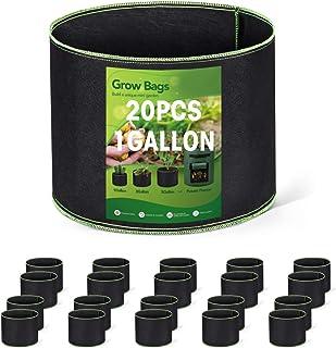 Wohous 20 包 1 加仑植物生长袋 重型充气织物盆加厚无纺布 1 加仑织物盆植物生长袋(20,1 加仑)