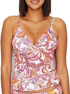 Lauren Ralph Lauren 嘉年华佩斯利图案塑形钢圈分体泳衣上衣,14,粉色