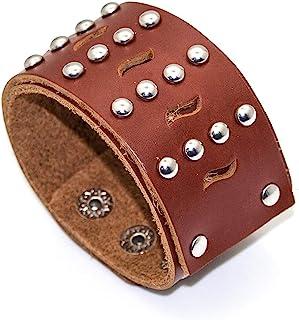 Heavstjer 朋克合金铆钉腕带宽皮革袖口手链