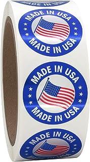1.5 英寸(约 3.8 厘米)圆形美国制造标签,金属银上有红色和蓝色,500 张贴纸,直径 1.5 英寸(约 3.8 厘米)