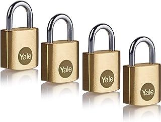 Yale Y110B/20/111/4 - 4 件装黄铜挂锁(20 毫米)- 室内锁,用于储物柜,背包,工具箱 - 键控 - 标准* - 多件装