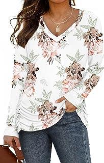 ONLYSHE 女式长袖上衣 V 领束腰秋季衬衫带侧褶宽松衬衫