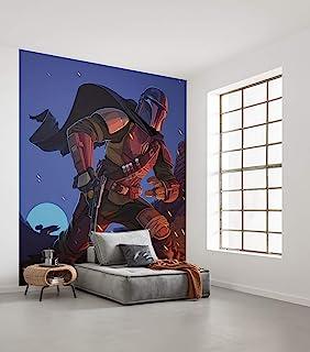 Komar 无纺布照片壁纸 - 星球大战曼陀罗里安大火花 - 尺寸:250 x 280 厘米,5 幅,幅宽50 厘米 - 壁纸,墙面装饰,儿童,宝宝 Yoda