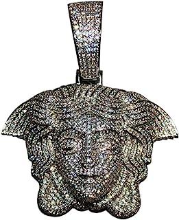 男士 14k 白金饰面*Medusa 头大冰爪套装古巴链男士迈阿密适合古巴链链项链(仅限美杜莎吊坠)适合*大 18 毫米的链条