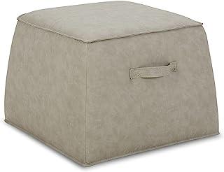 CHITA 皮革 Ottoman 方形脚架 客厅椅 脚凳 麻灰色