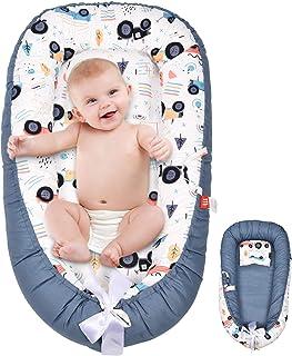 AMPERSIN 婴儿躺椅,Baby Nest Co Sleeping 便携式摇篮作为婴儿沐浴礼品,* 柔软棉质透气婴儿枕头新生儿躺椅睡觉,可调节婴儿摇篮床(汽车)