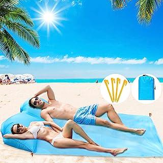 BHeadCat 便携式沙滩垫 带空气枕 无需充气工具 超轻小巧防水垫 适用于海滩日光浴、露营、野餐、旅行、户外、徒步、带储物袋、蓝色