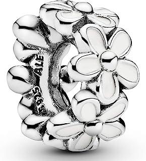 Pandora 潘多拉 白色雏菊瞬间 纯银串饰 珐琅791495EN12