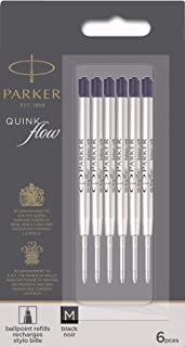 Parker 派克 QUINKflow 圆珠笔,墨水笔芯,中号,黑色,超值装,每盒6支