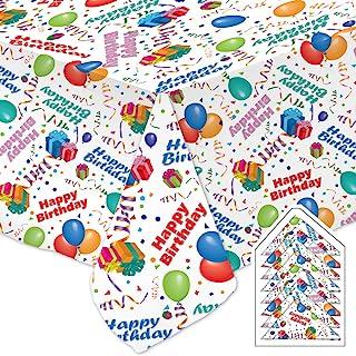 庆祝桌布生日快乐派对套装白色餐厅优质面料可机洗和烘干免烫无污渍包括 (1) 54 x 90 英寸(约 137.2 x 228.6 厘米)桌布和 (8) 17 x 17 英寸(约 43.2 x 43.2 厘米)餐巾纸
