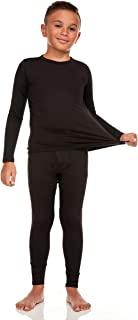 Bodtek 男孩保暖内衣套装 – 圆领 – 超柔软温暖,可拉伸长约翰上衣和下装
