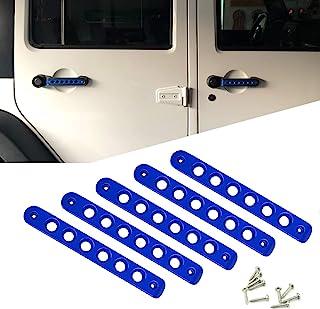 铝制门把手把手盖,侧门把手插入物盖修剪适合 2007-2018 Jeep Wrangler JK & Unlimited 4 门 5 件/套(蓝色)