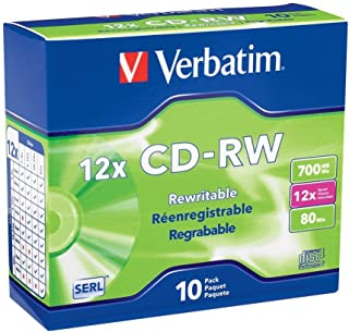 Verbatim CD-RW 700MB 4X-12X High Speed with Branded Surface 10-Disc Slim Case (95156)