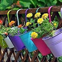 """LOVOUS® 6.1"""" x 4.5"""" x 5.7"""" 大号 3 件铁制悬挂花盆阳台花园植物花盆,壁挂金属桶花架"""