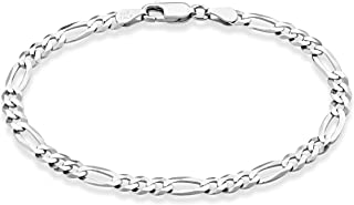 MiaBella 纯 925 纯银意大利 5mm 钻石切割费加罗链女士手链,17.78 厘米,20.32 厘米,22.86 厘米