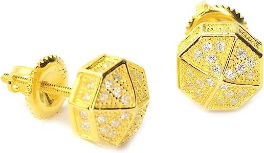 男式方晶锆石 3D 八角爪镶螺旋耳钉 BE 11622