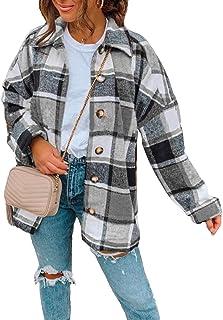 Vsaiddt 女式休闲格子宽松长袖羊毛混纺夹克衬衫