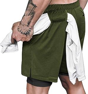 COOFANDY 男式 2 合 1 Active 短款弹性轻质速干慢跑短裤