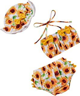 女婴泳装可爱向日葵比基尼套装吊带上衣花卉下装带帽子泳衣 3 件套泳衣