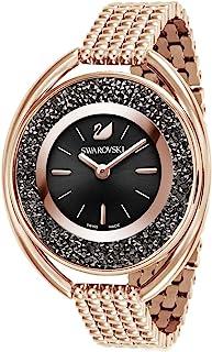 SWAROVSKI 施华洛世奇水晶椭圆形手表,金属表带,黑色,玫瑰金色调 - 高级石镶嵌瑞士制造的钟表珠宝和日常配饰