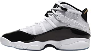 Jordan Air 男式 6 环运动鞋 白色/黑色/金属金色