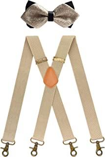 QCWQMYL 男式背带和领结套装 复古 4 个旋转挂钩可调节背带
