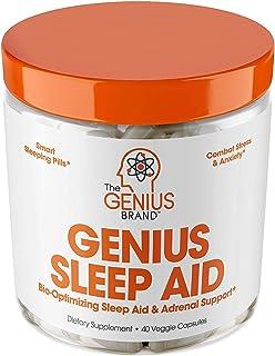 Genius Sleep AID – 智能*药和肾上腺*补充品,天然压力,*和*剂 – 放松增强剂和心情支持,含肌醇,L-茶氨酸和甘氨酸 – 40粒