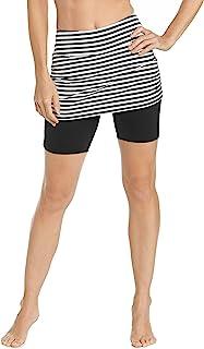 Coolibar 女式 UPF 50 + 带裙游泳短裤 - 石墨色,尺码 106.68/L