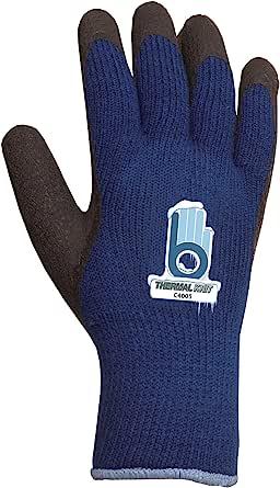 bellingham 手套 c4005X L 码特大蓝色保暖针织手套带橡胶手掌