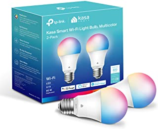 Kasa 智能灯泡,全色可调光智能 WiFi 灯泡兼容 Alexa 和 Google Home,A19,9W 800流明,仅限 2.4GHz,无需集线器,2 件装 (KL125P2),多色