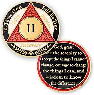 2 年 AA *章 Sobriety 硬币 - 酒精匿名芯片 - 两年硬币 - 红白黑令牌