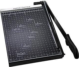 纸张修剪器,A4 切纸刀,切纸刀,重型网格底座切割长度 12 张容量,切割纸机家庭办公室(煤黑色)