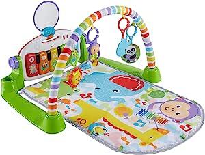 Fisher-Price 费雪 玩具沙槌和豪华Kick & Play钢琴健身游戏毯,,绿色,男女通用(无挫折包装)