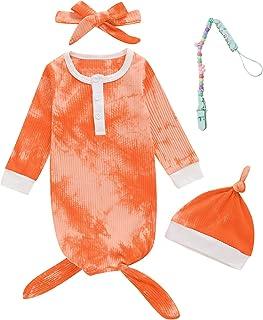 Dramiposs 4 件套新生儿女孩男孩睡衣婴儿睡衣长袖套装带奶嘴夹