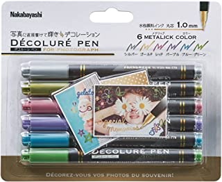 Nakabayashi 装饰用签字笔 金属照片装饰用6色套装 23524
