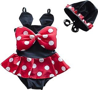 WINZIK 女婴泳装波尔卡圆点泳装幼儿儿童吊带泳衣夏季沙滩装比基尼套装带帽子