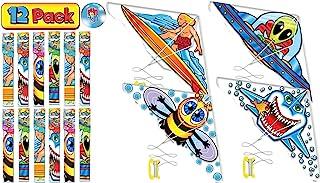 JA-RU 三角风筝 散装风筝 儿童(4 个装)易于组装的滑翔机,易于飞行和发射。 家庭户外儿童游戏。 派对礼品。9871-4p 12 Units Kitesky
